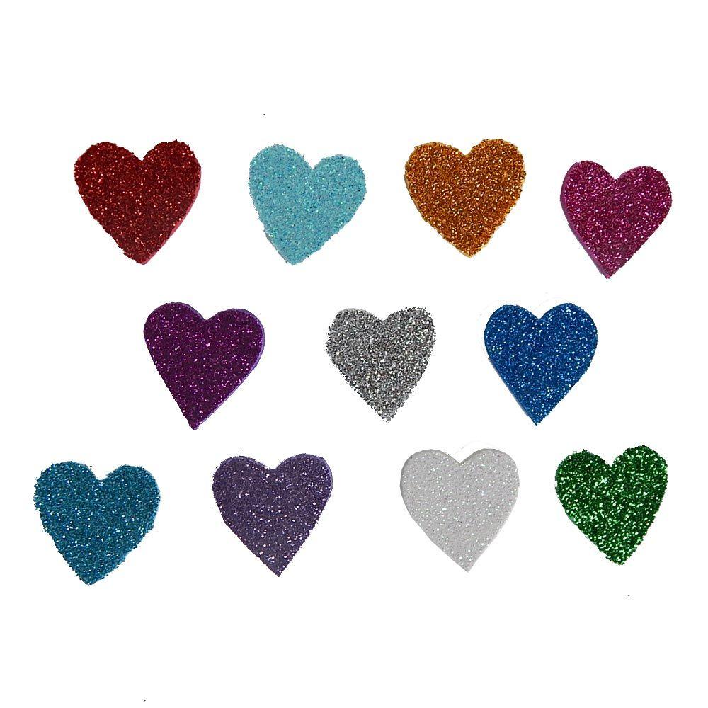 Recorte Coração de EVA / Gliter - 3cm / 10 UN
