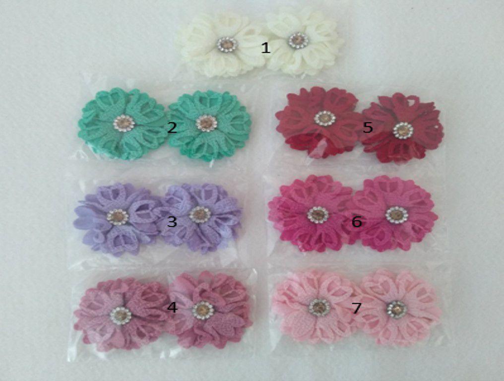 Aplique Flor de tecido 3,5cm kit 2 unidades