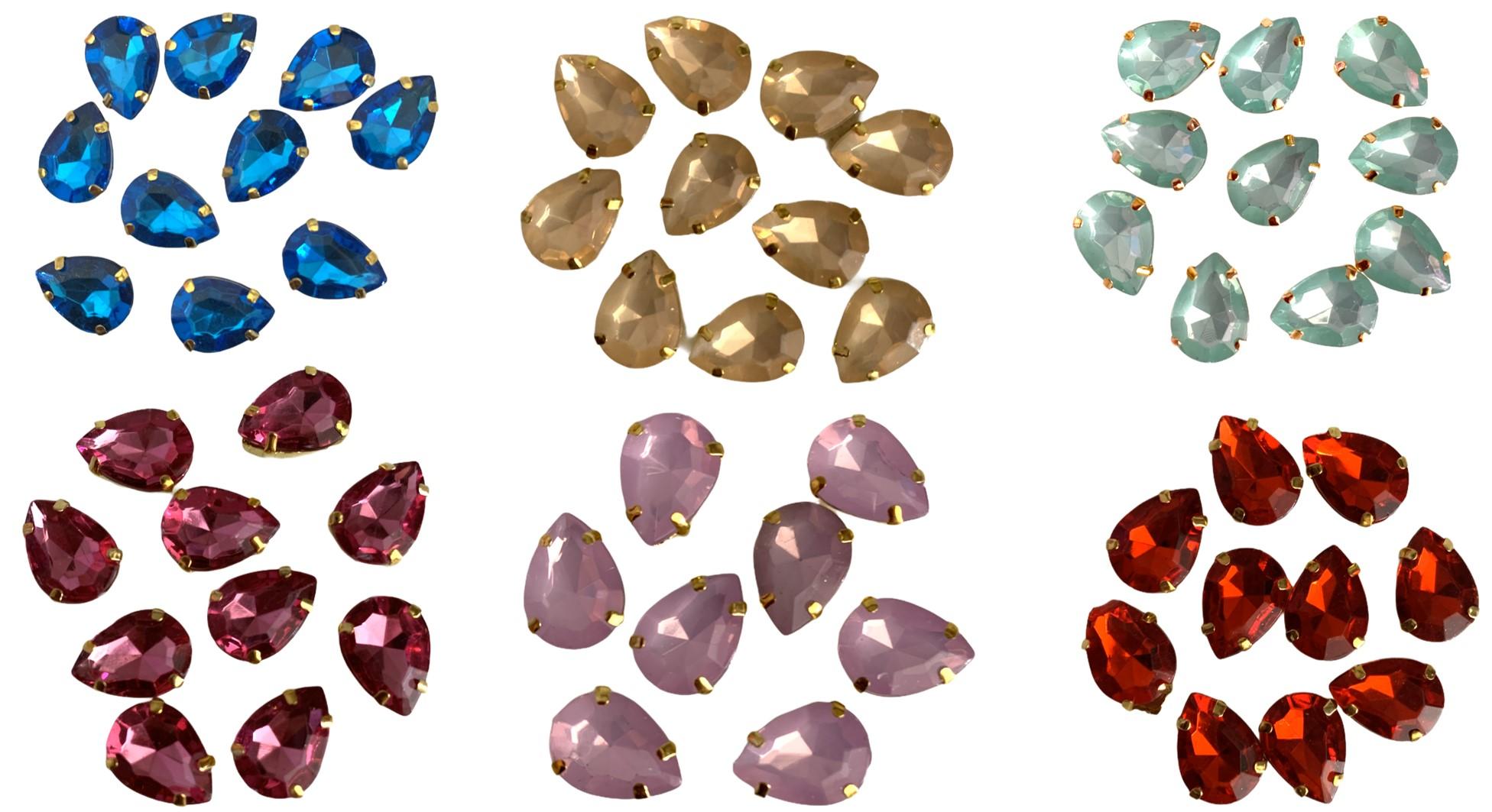 Chaton Engrampado Dourado 1,5X1,0cm - 10 unidades