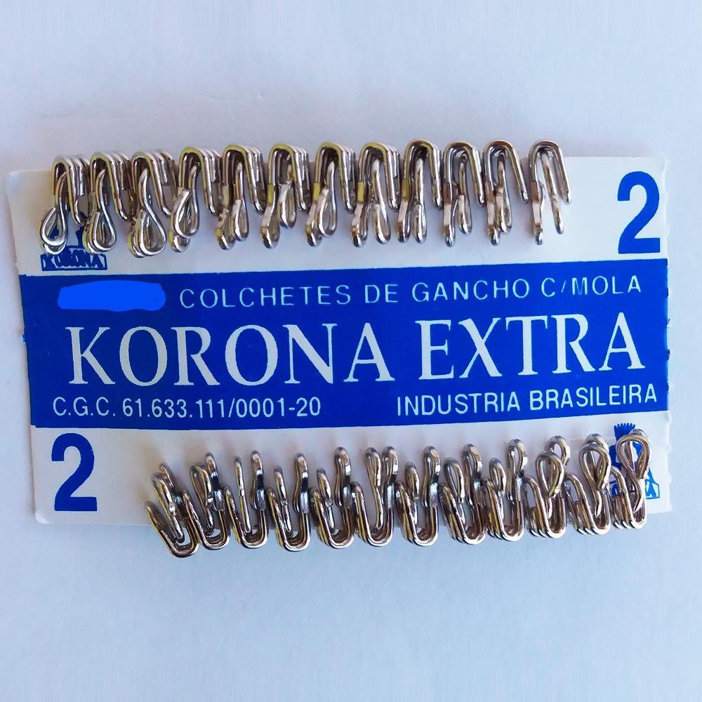 Colchetes Gancho Korona 2 Niquel - Cartelas com 12 UN