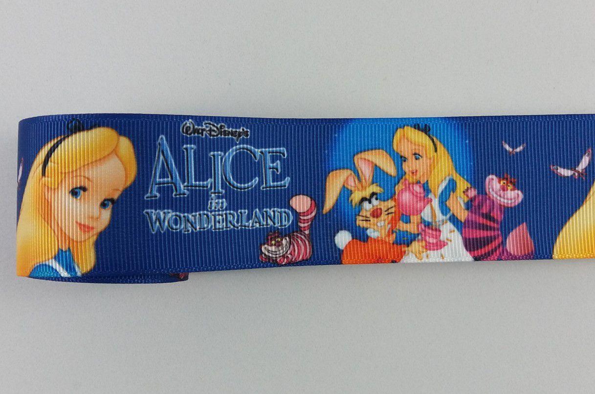Fita de Gorgurão Estampada Alice Wonderland - 9/38mm - 3 metros