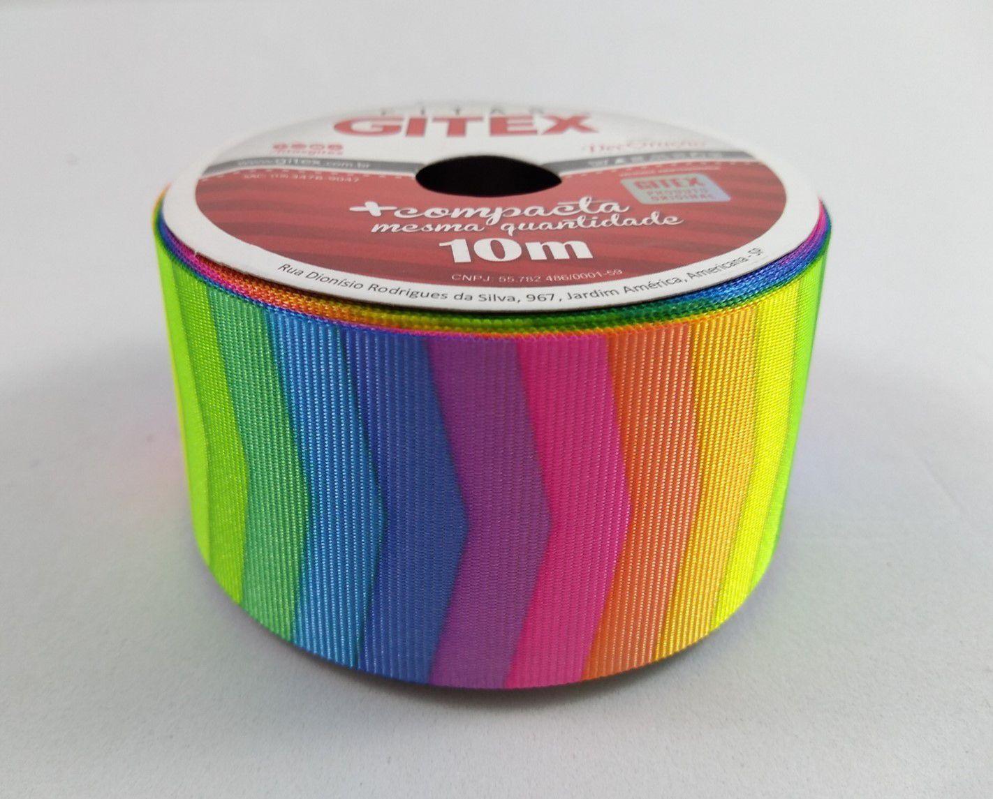 Fita de Gorgurão Gitex Setas Coloridas 9/38mm - 10 metros