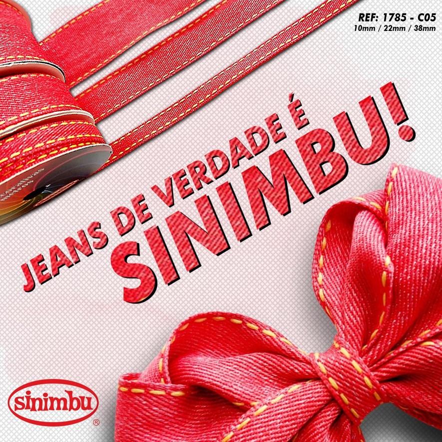 Fita Jeans Pesponto da Sinimbu Vermelha 38mm/22mm/10mm - 10metros