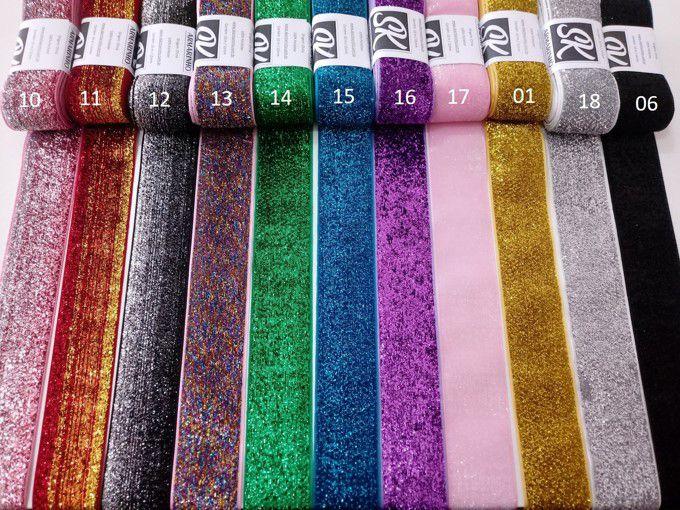 Fita Sintetica de Glitter Importada 9/38mm - 3 metros