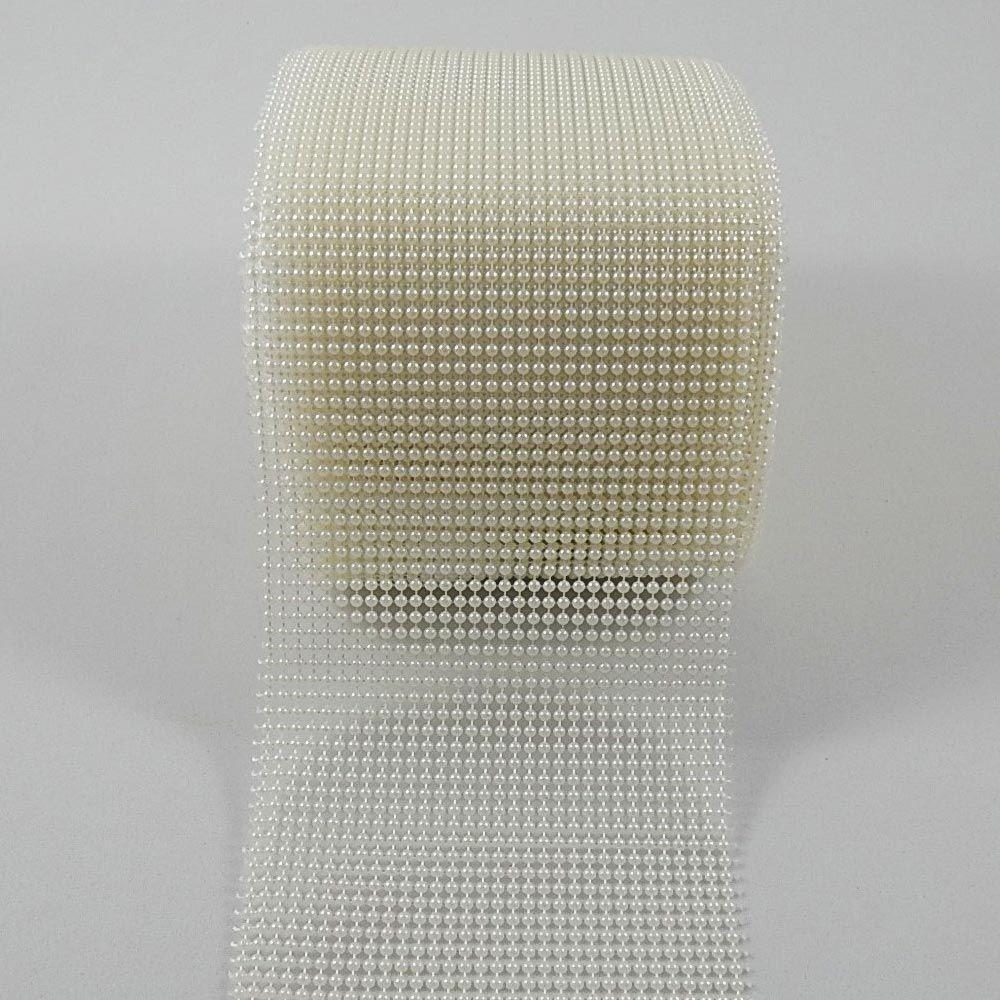 Manta de Meia Pérolas ABS Branca - 3mm - 10cm x 1m