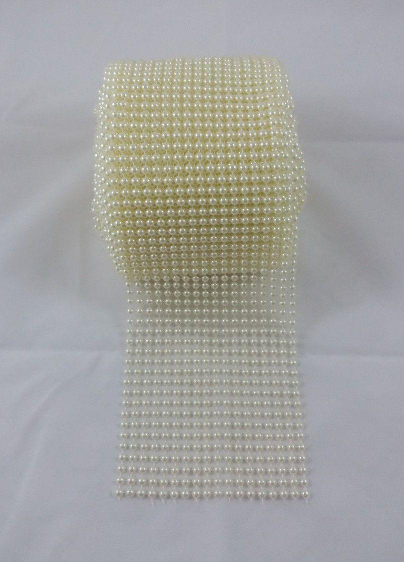 Manta de Meia Pérolas ABS Marfim / Branca - 3mm - 10cm x 1m