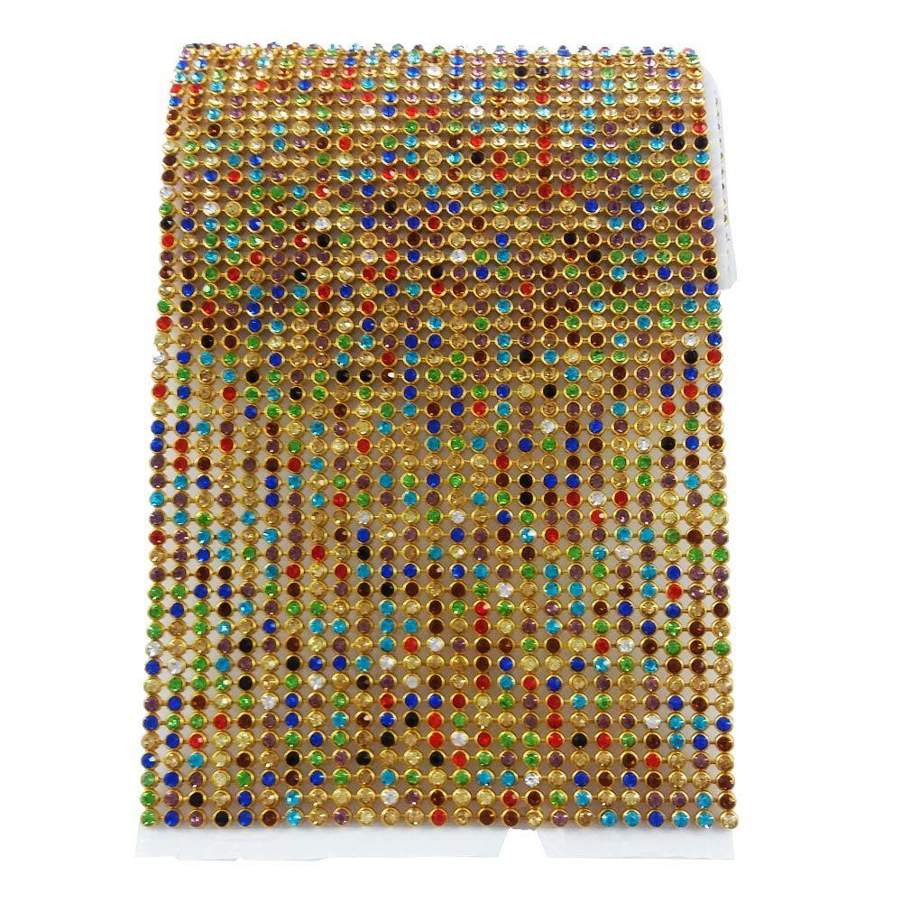 Manta de Strass Colorida 10x45