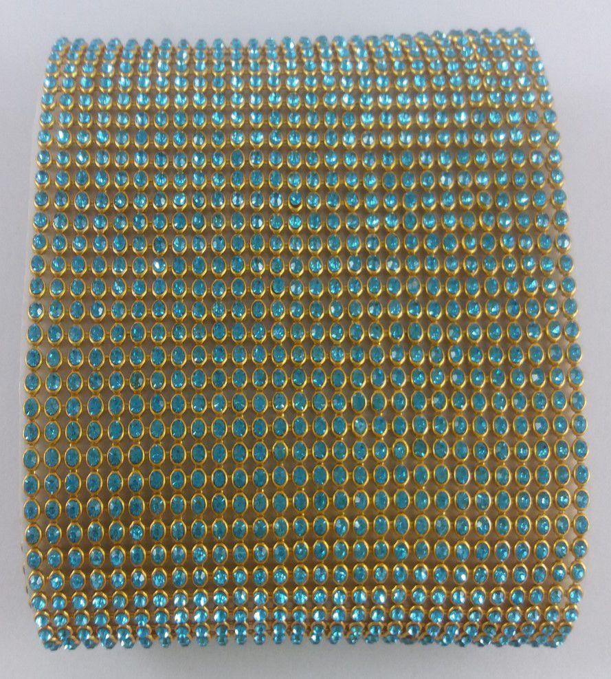 Manta de Strass Termocolante Azul - 10 x 40 cm unidade