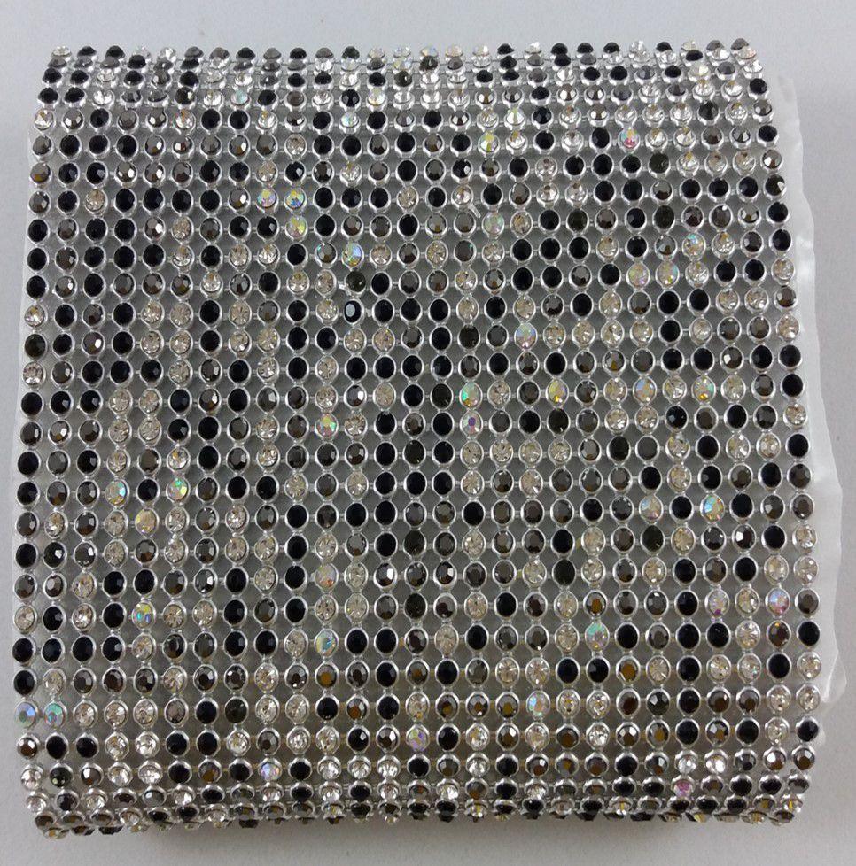 Manta de Strass Termocolante Niquel / Preta - 10 x 45 cm