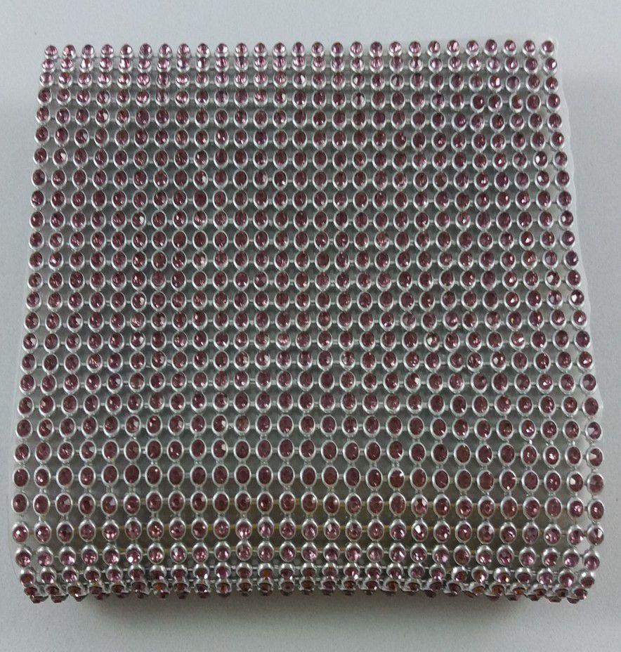 Manta de Strass Termocolante Prata / lilas - 3mm - 10 x 45 cm