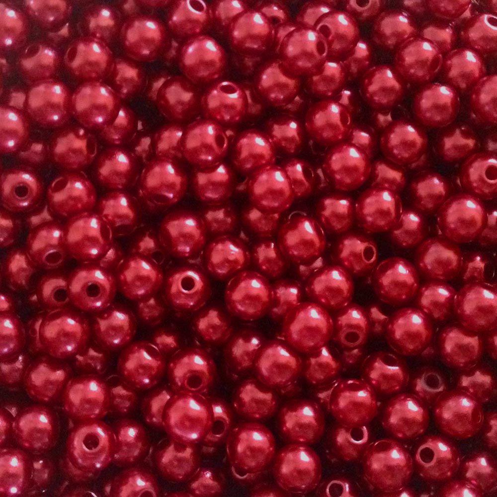 Pérolas ABS Vermelho Bordô - 5mm - 50gr