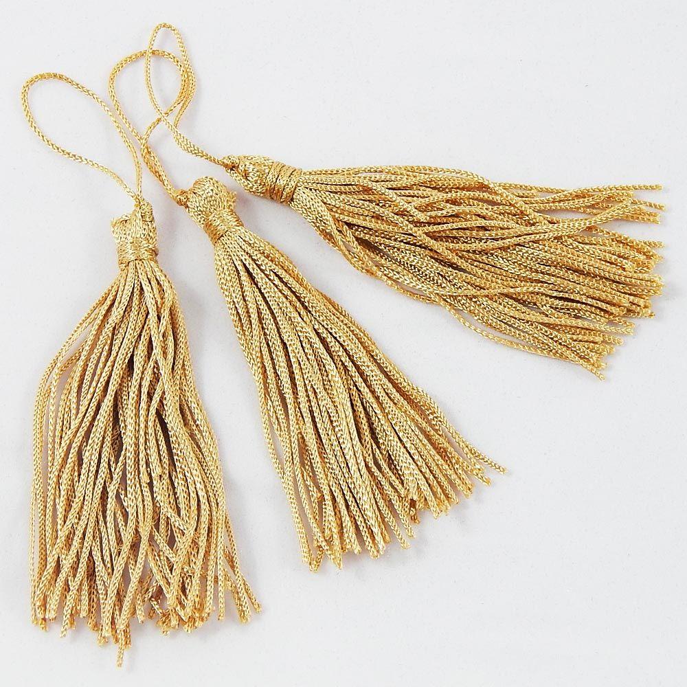 Pingente de Seda Franja Tassel - Dourado - 8cm - Cartela com 10 UN