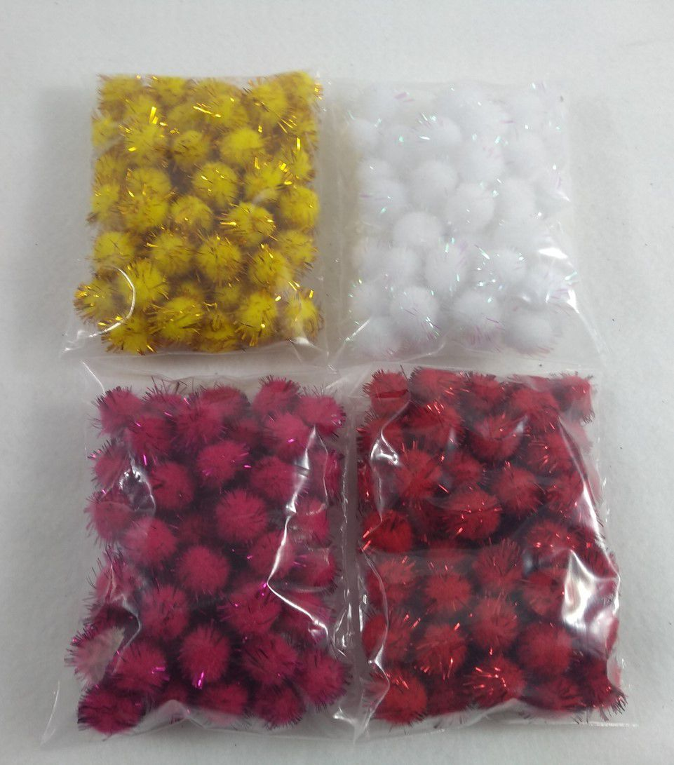 Pompom Solto 1,5 cm com Glitter - 10 ou 50 unidades