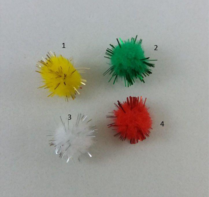 Pompom Solto Glitter 1cm - Cartela 10 Unidades