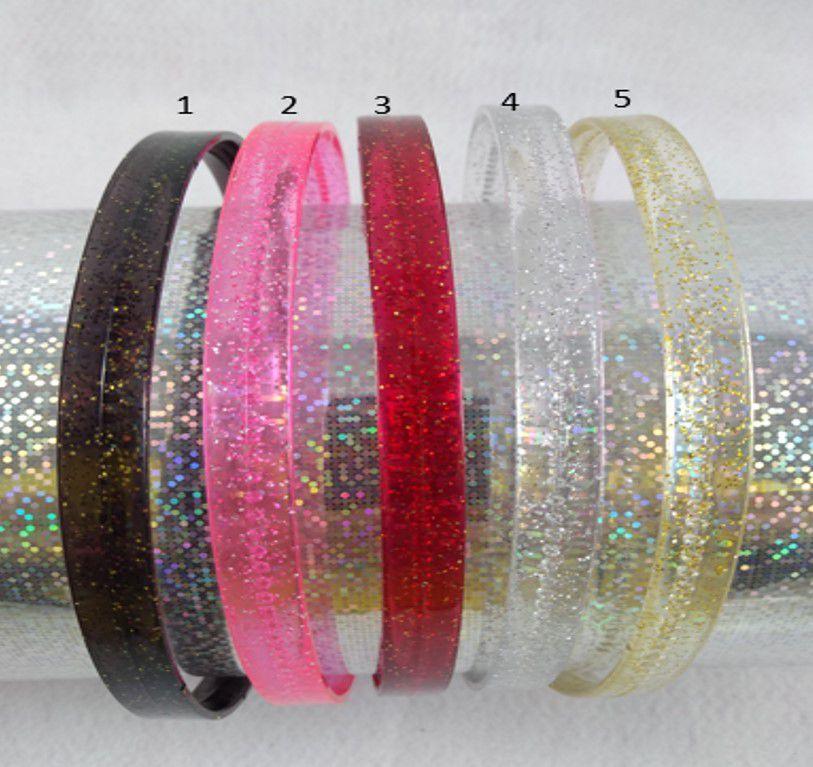 Tiara Transparente Glitter 1 cm - 5 unidade