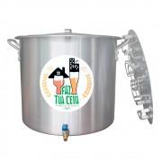 Caldeirão/Panela Cervejeira Alumínio com Registro e Fundo Falso 32,5L - 36cm