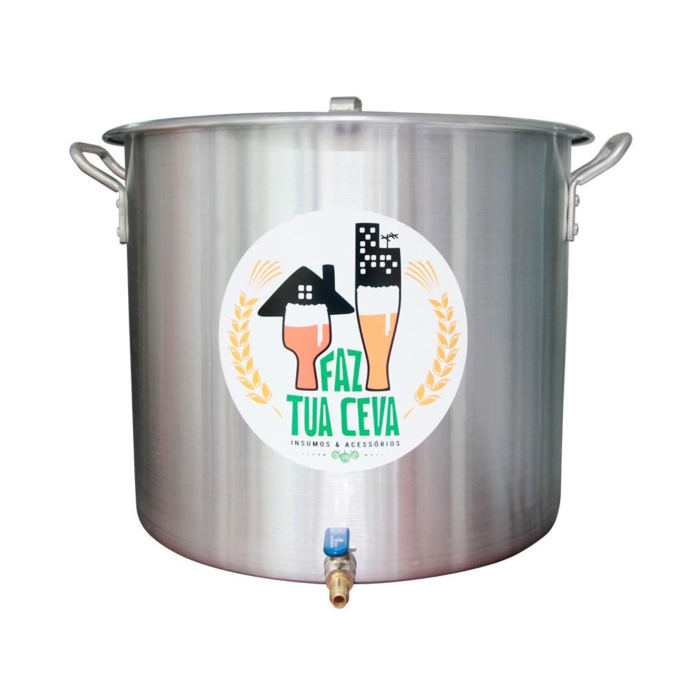 Caldeirão/Panela Cervejeira Alumínio com Registro 32,5L - 36cm