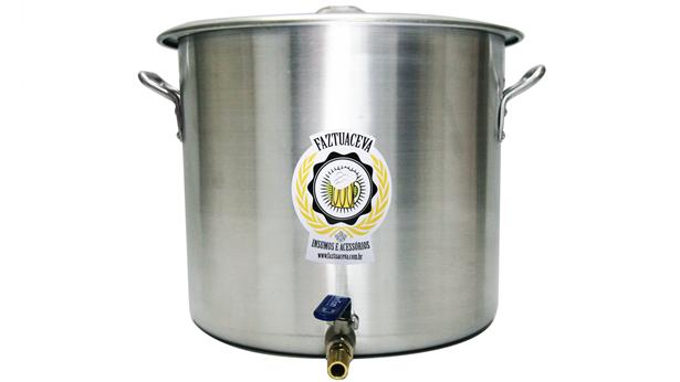 Caldeirão/Panela Cervejeira Alumínio com Registro 68,3L - 45cm