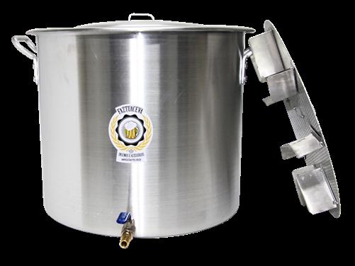 Caldeirão/Panela Cervejeira Alumínio com Registro e Fundo Falso 38,5L - 38cm