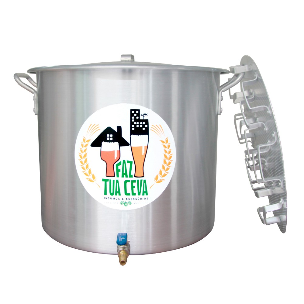 Caldeirão/Panela Cervejeira Alumínio com Registro e Fundo Falso 45,2L - 40cm