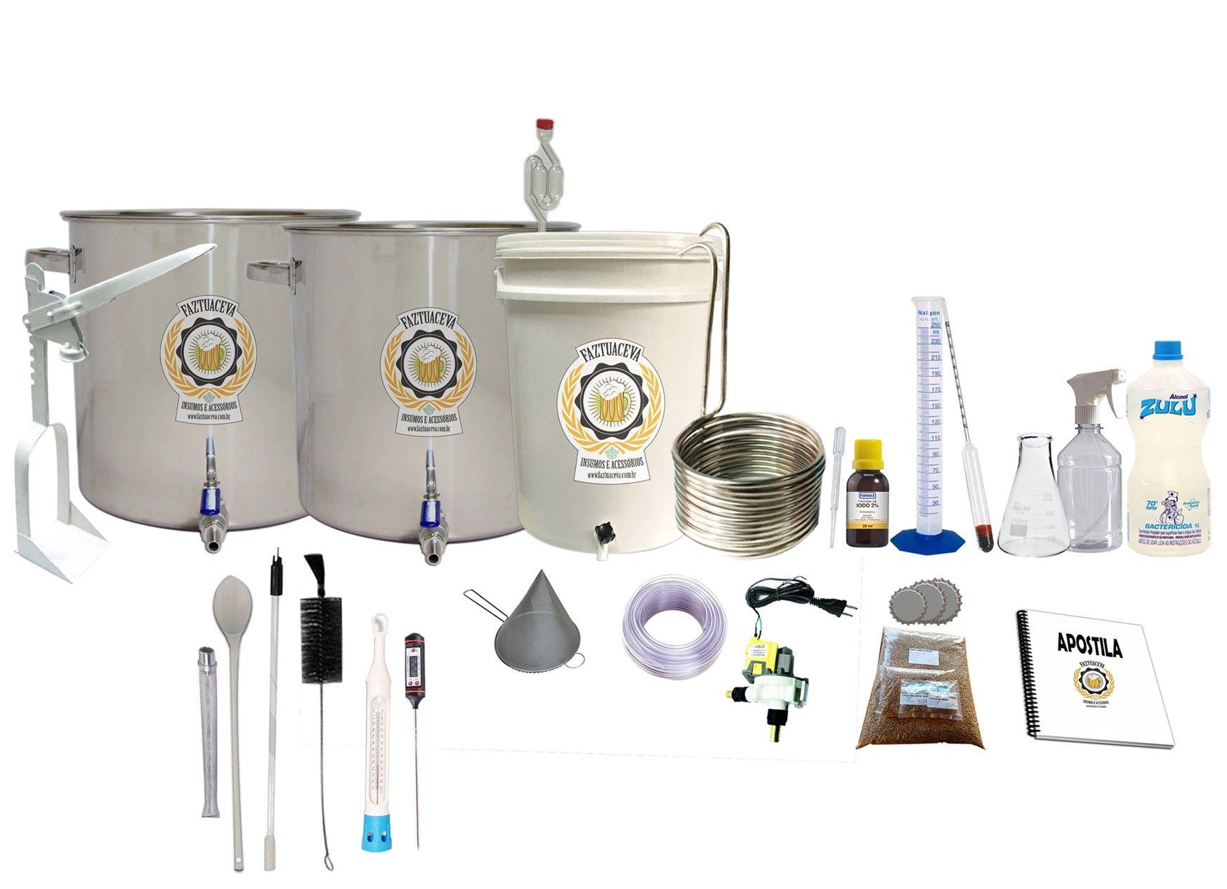 Kit Cervejeiro Inox Até 20L - Fabricação de Cerveja Artesanal