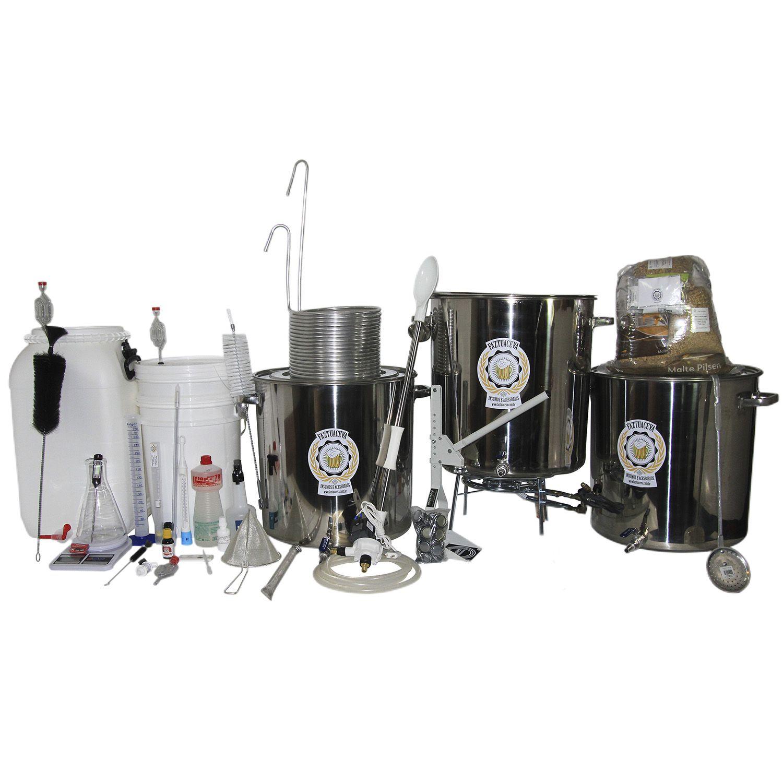 Kit Cervejeiro Inox Até 50L (3 Panelas) - Fabricação de Cerveja Artesanal