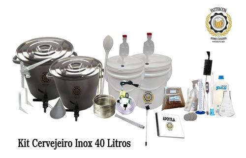 Kit Cervejeiro Inox Cerveja Artesanal 40l Com Fundo Falso