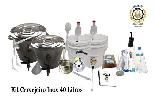 Kit Cervejeiro Inox Cerveja Artesanal 40l + Fogareiro 12c