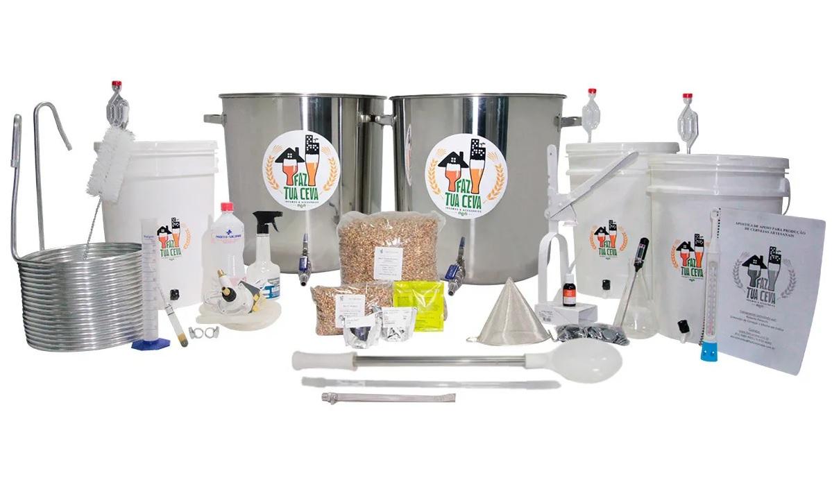 Kit Cervejeiro INOX 2 Panelas - 50 Litros + Moedor