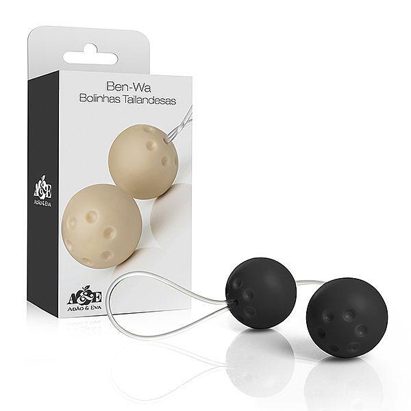 Conjunto 2 bolas pompoar com alça em silicone - Preto