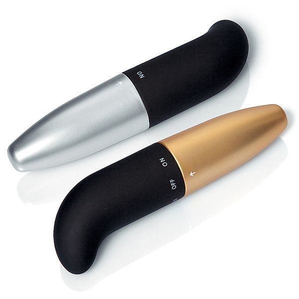 Vibrador Soft Touch Metalizado PONTO GEEE - 13 cm - preto e dourado