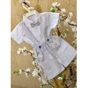 Conj. Bermuda Cinza com Camisa para Batizado