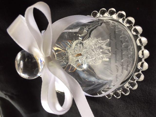 Lembrancinha para Padrinhos Batizado Anjo de Cristal Cúpula