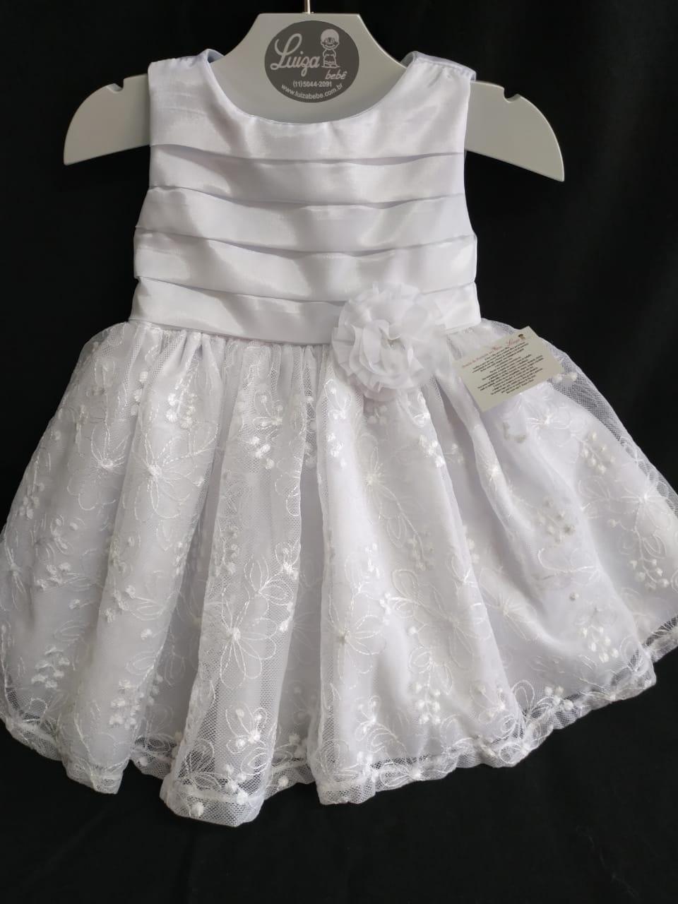 Vestido pregas e renda na saia batizado branco