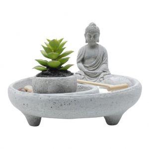 Adorno Buda Round Zen Garden Concreto Cinza - Urban
