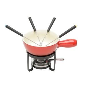 Aparelho de fondue 8pç para Queijo de Cerâmica Vermelho - Lyor