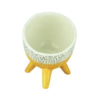 Cachepot de Cerâmica Bended Bright Colors Amarelo 13,7 cm- Urban