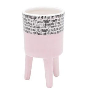 Cachepot de Cerâmica com Pé Bright Colors Rosa Pequeno 12cm - Urban