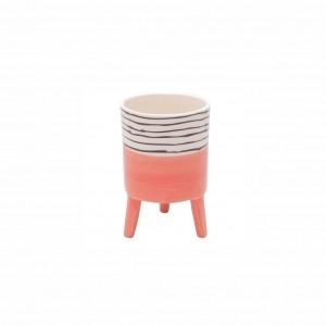 Cachepot de Cerâmica com Pé Bright Colors Salmão Pequeno 12cm - Urban