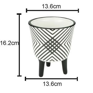 Cachepot de Cerâmica Crossed Lines P&B 16 cm - Urban