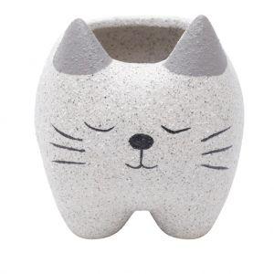 Cachepot Gato Sleeping Cerâmica Cinza - Urban