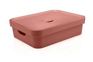 Caixa Organizadora Cube G Baixa Com Tampa 16L Terracota - Ou