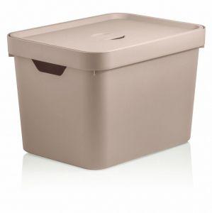 Caixa Organizadora Cube M 18 L Com Tampa Bege - Ou