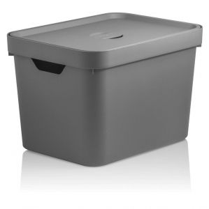 Caixa Organizadora Cube M 18 L Com Tampa Chumbo - Ou