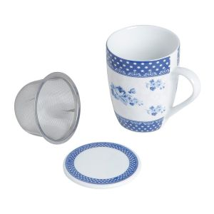 Caneca Com Filtro E Tampa De Porcelana Super White Elsa 310Ml C/ Caixa De Presente - Lyor