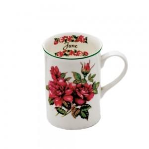 Caneca Porcelana Bone Chine  Flores Mês Junho 350ml - Mcd