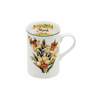 Caneca Porcelana Bone Chine  Flores Mês Março 350ml - Mcd