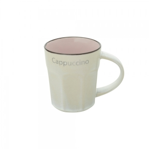 Caneca Porcelana Off White & Rosa Allure 270ml -Bon  Gourmet