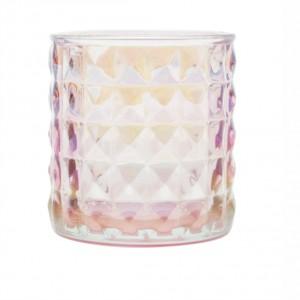 Castiçal de Vidro com Losangos em Relevo Rosa Frutacor - URBAN