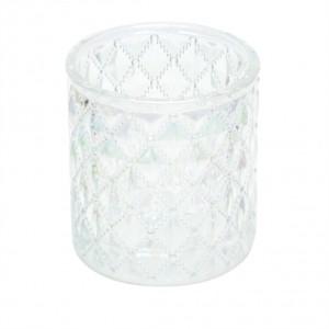 Castiçal de Vidro com Losangos em Relevo Transparente Frutacor - URBAN